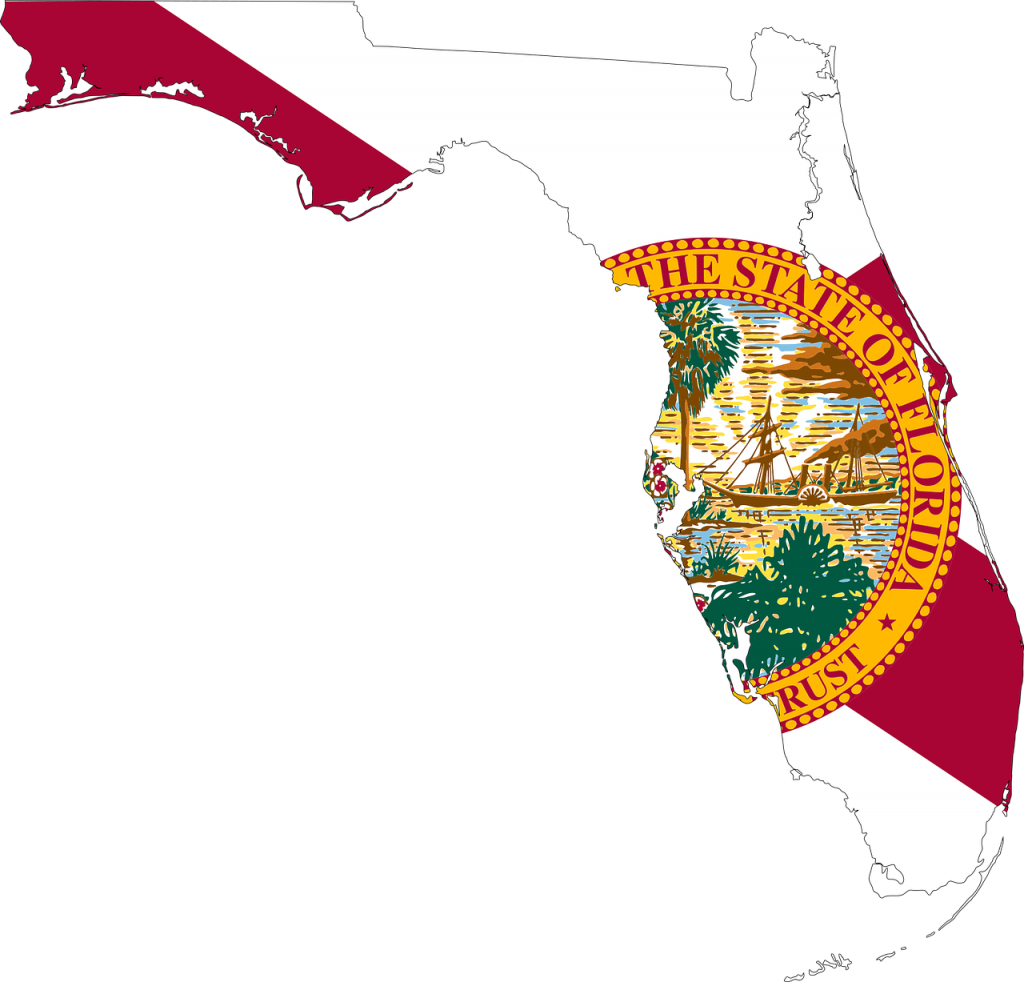 flag of florida with map